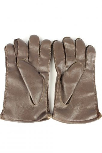 Vintage Mens Fleece Linning Gloves 90s Brown G245-147202