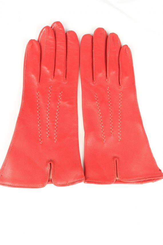 Vintage Womens Leather Gloves 90s 7 Red G249-0