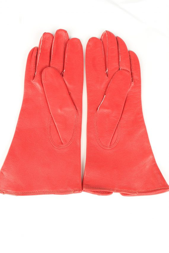 Vintage Womens Leather Gloves 90s 7 Red G249-147218