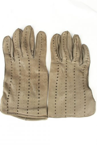 Vintage Womens Perforated Holes Gloves 90s Grey