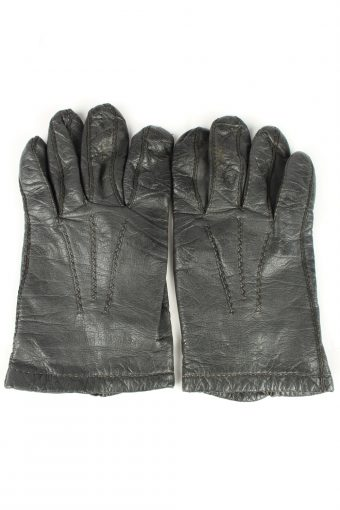 Vintage Unisex Leather Lined Gloves 90s Dark Brown