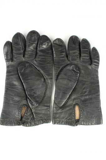 Vintage Unisex Leather Lined Gloves 90s Dark Brown G259-147258