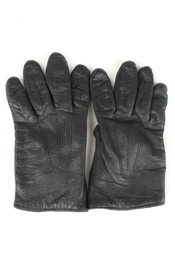 Vintage Unisex Leather Lined Gloves 90s Black G261-0