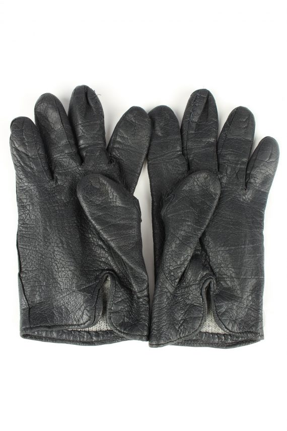 Vintage Unisex Leather Lined Gloves 90s Black G261-147266