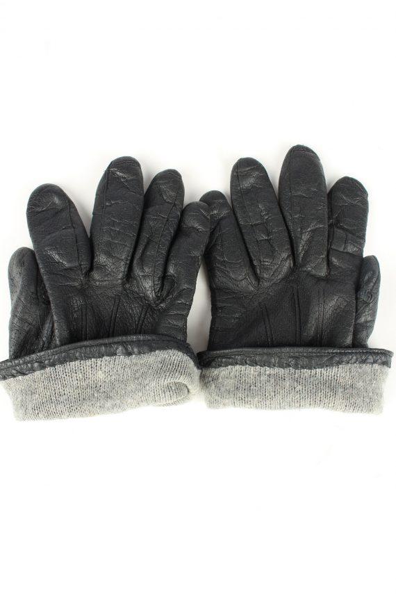 Vintage Unisex Leather Lined Gloves 90s Black G261-147267