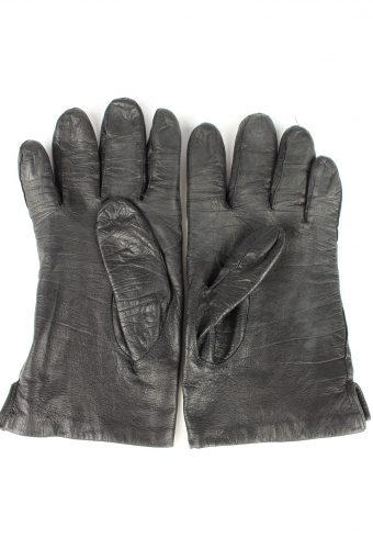 Vintage Womens Leather Gloves 80s Black G265-147318