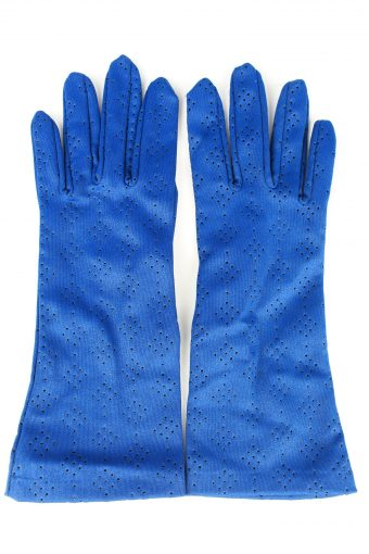 Vintage Womens Perforated Holes Lightweight Gloves 80s Blue