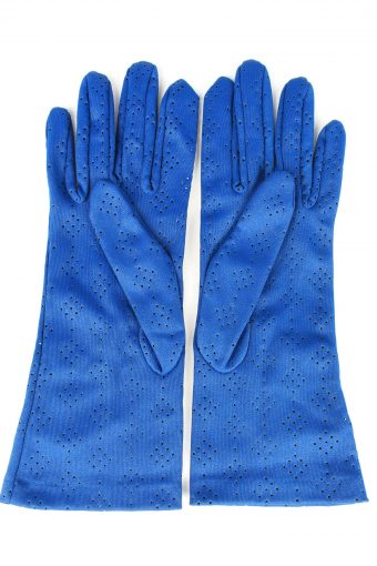 Vintage Womens Perforated Holes Lightweight Gloves 80s Blue G268-147330