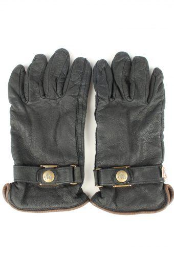 Vintage Womens Genuine Leather Gloves 80s Size 7.5 Black