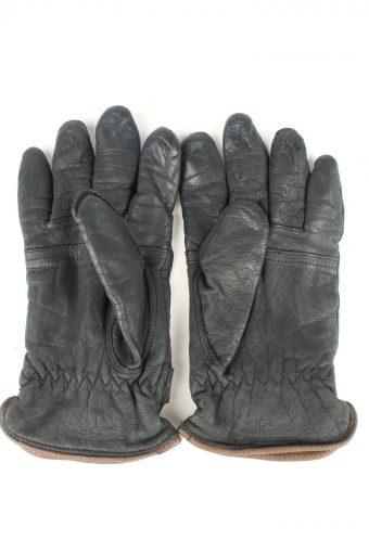Vintage Womens Genuine Leather Gloves 80s Size 7.5 Black G270-147338