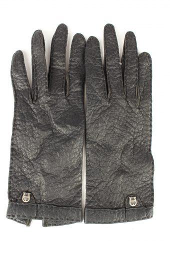 Vintage Womens Leather Gloves 80s Black