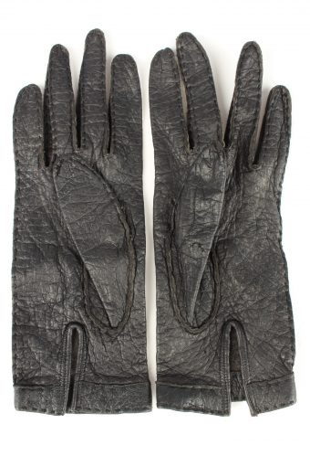 Vintage Womens Leather Gloves 80s Black G271-147342