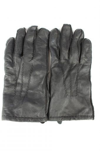 Vintage Mens Leather Gloves 80s Size Black