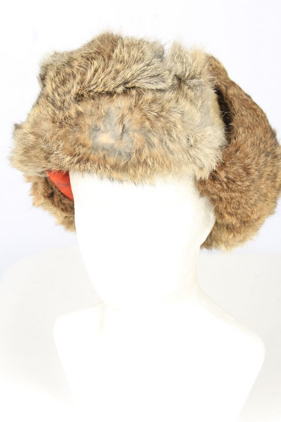 Vintage Unisex Rabbit Fur Hat Ushanka 90s Brown HAT1667-0