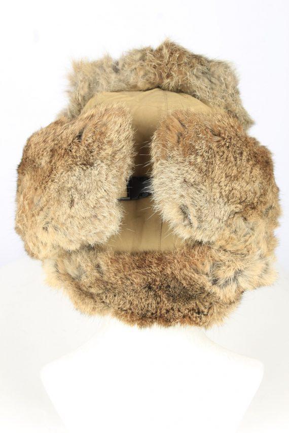 Vintage Unisex Rabbit Fur Hat Ushanka 90s Brown HAT1667-147526