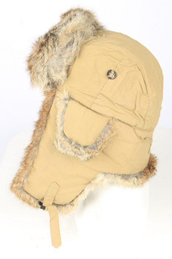 Vintage Unisex Rabbit Fur Hat Ushanka 90s Brown HAT1667-147527