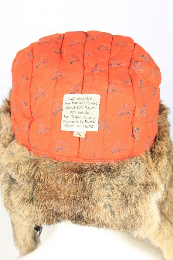 Vintage Unisex Rabbit Fur Hat Ushanka 90s Brown HAT1667-147528