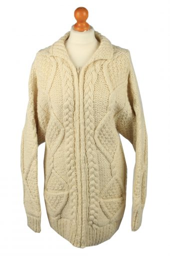 Womens Cable Knit Cardigan 90s Cream L