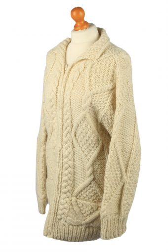 Vintage Womens Cable Knit Cardigan 90s L Cream -IL2132-149565