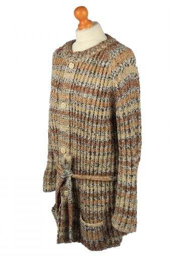 Vintage Womens Cable Knit Cardigan 90s XL Brown -IL2135-149577