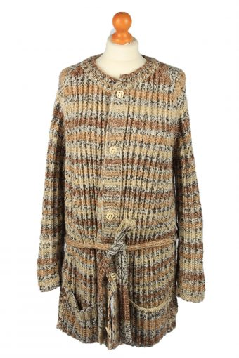 Womens Cable Knit Cardigan 90s Brown XL