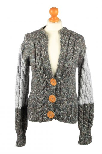 Womens Cable Knit Cardigan 90s Green XS