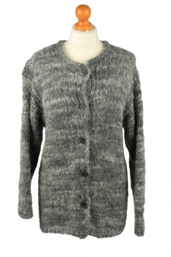 Womens Button Up Cardigan 90s Grey M