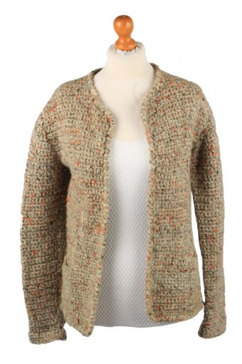 Womens Cable Knit Cardigan 90s Brown M
