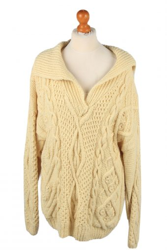 Womens Cable Knit Jumper 90s Cream XL