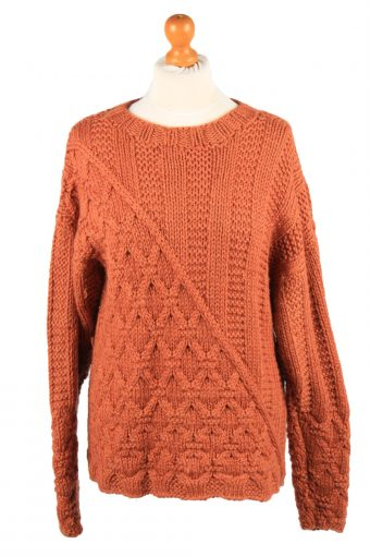 Womens Cable Knit Jumper 90s Terra Cotta M