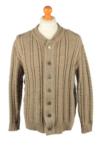 Mens Cable Knit Cardigan 90s Exclusiv Modell Brown L