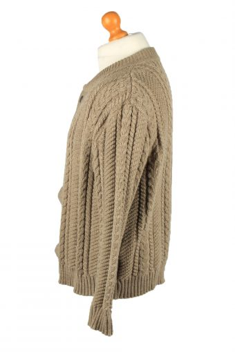 Vintage Exclusiv Modell Mens Cable Knit Cardigan 90s 52 Brown -IL2150-148117