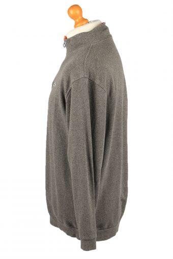 Vintage Lacoste Mens Zip Neck Jumper 90s Size 8 Grey -IL2158-148149