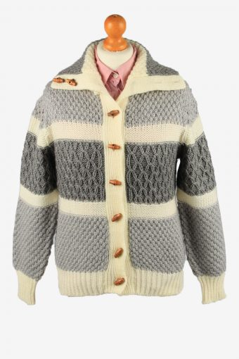 Womens Knit Cable Cardigan Grey S