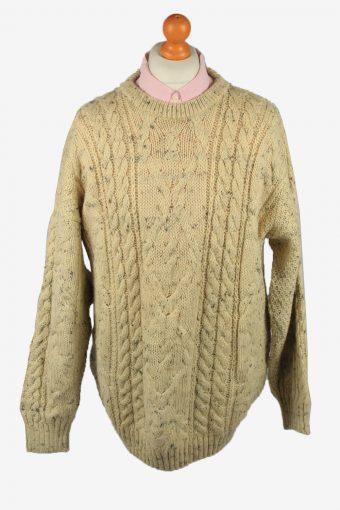 Mens Cable Wool Jumper 80s Beige XXL