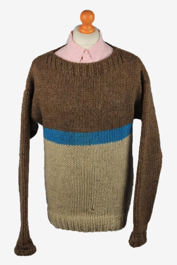 Vintage Mens Crew Neck Knit Jumper L Brown -IL2222-0