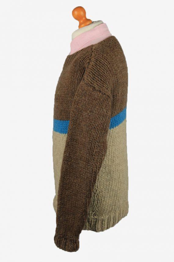 Vintage Mens Crew Neck Knit Jumper L Brown -IL2222-148917
