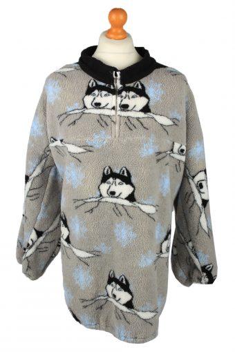 Half Zip Mens Fleece Top Pullover Grey 4XL