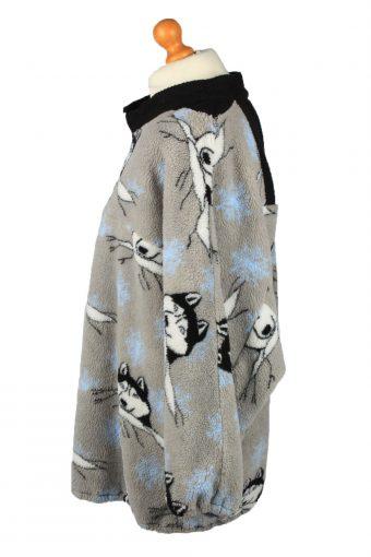 Vintage Half Zip Mens Fleece Top Pullover 4XL Grey -SW2660-148381