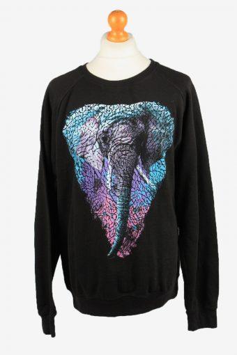 Sweatshirt Top 90s Retro College Black XXL