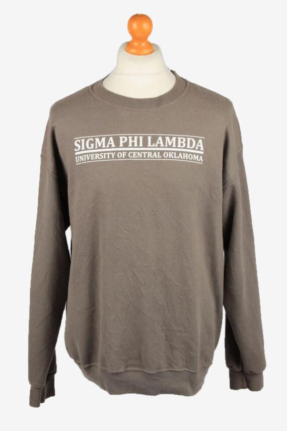 Vintage Gildan Mens College Sweatshirt Top L Brown -SW2679-0