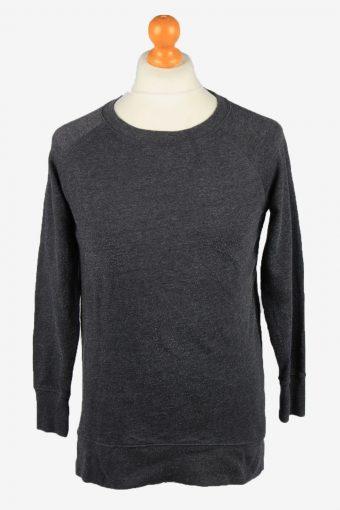 Sweatshirt Top 90s Retro College Dark Grey XS