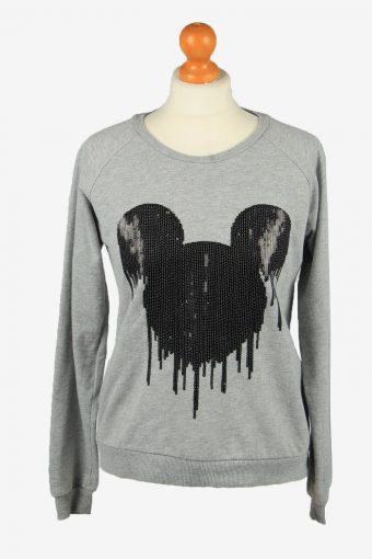 Disney Womens Crew Neck Sweatshirt Top Grey M