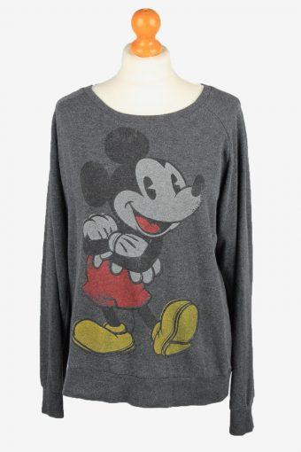 Disney Womens Wide Neck Sweatshirt Top Dark Grey L
