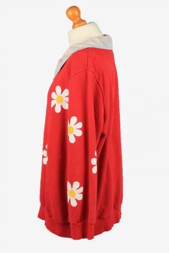 Vintage Miss Womens Collared Sweatshirt Top 4L Red -SW2701-149132