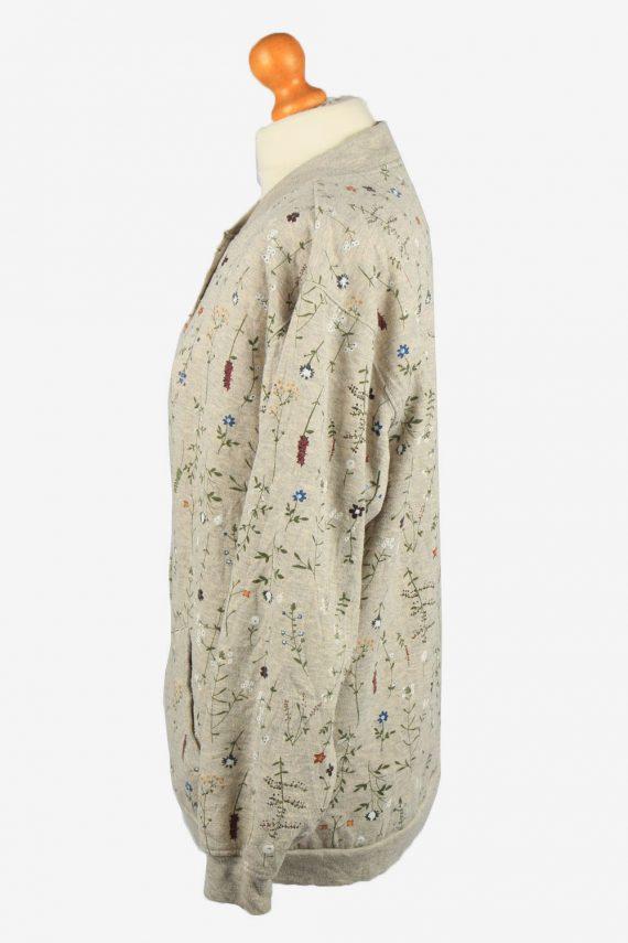 Vintage Blair Womens Floral Snap On Cardigan L Grey Marl -SW2702-149136