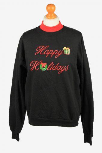 Fabri Tech Womens Christmas Sweatshirt Top Black M