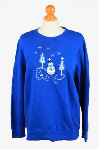 Holiday Editions Womens Crew Neck Sweatshirt Top Blue M