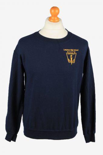 Sweatshirt Top 90s Retro College Navy S