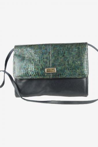 Leather Snake Pattern Shoulder Bag Womens Vintage 1970s Navy